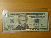 Lucky 2004 20 Federal Note Fancy Near Solid 8 Serial 8888888 8888 88888 888888