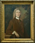 Substantially Large Oil Portrait Painting Of William Fellowes 1706-1775