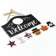 Wall Hanging Welcome Sign With 6 Interchangeable Seasonal Icons