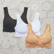 Seamless Comfort Bras With Removable Cups - Set Of 3