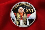 Pope Benedict 16'th, Colorized United States Silver Eagle Coin, With Air-tite