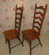 2 Tell City Chair Co Hard Rock Maple Tall Ladderback Dining Room Andover 8036
