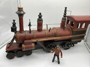 Hand Crafted Wood Metal Train Locomotive Engine Toy Red Railroad Vintage