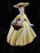 Vintage Lefton Planter, 1854, Lady In Yellow Dress, Carrying A Basket Of Flower