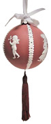 Wedgwood Jasperware Cameo Red Ball Ornament With White Relief Boxed