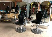4 Beauty Salon Chairs With 4 Standing Lighted Mirrors Set
