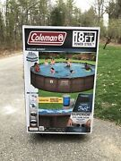 New Coleman 18ft Round Power Steel Pool With Filter Pump Ladder And Cover