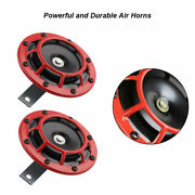 2x Air Horn Red 12v High Low Voltage Whistle For Car Trumpet Motorcycle New Ab