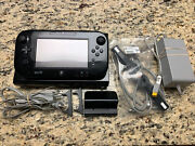 Nintendo Wii U 32gb Deluxe Black Console Gamepad Charge Cables Tested Clean