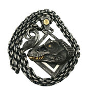 Jurassic Park Sterling Silver 24k Gold Tyrannosaurus Necklace Pendant Mens Jewel