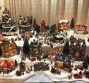Dept 56 Christmas Village Lot Of 6-8 Houses Plus Figurines, Trees, Accessories