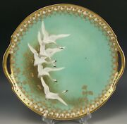 Nippon Hand Painted Flying Geese Jeweled 10.75 Cake Plate Charger