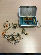 Vintage Engraved Aluminum Tackle Box Loaded With Fishing Lures