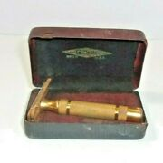 Vintage Gillette Gold Tone Safety Razor And Box One Blade Usa Made Nice Condition