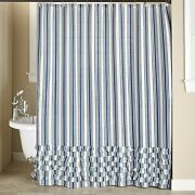 Striped Farmhouse Bathroom Shower Curtain - Country Restroom Accent