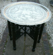Large Carved Antique Indian Folding Side Table With Brass Tray Top
