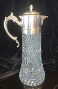 W A 14 Antique Italy Glass/silver Plated Iced Beverage Serving Carafe W/insert