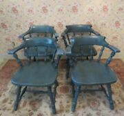 Ethan Allen Set Of 4 Antiqued Pine Foliage Spice Blue Mate Chairs 12 6001