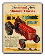 Massey-harris Tractor Mh 50 Hydramic Power 15 Heavy Duty Usa Made Metal Ad Sign