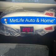 Metlife Snoopy Blimp Lighted Advertising Sign Clock By Dualite - Rare