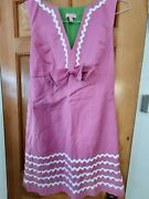 Lily Pulitzer Hot Pink Knee Lengthdress W/ Wht Ricrac And Bow Sz 10 Green Lining