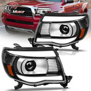 Projector Headlights Headlamps Black For Toyota Tacoma 2005-2011 Clear Led Tube