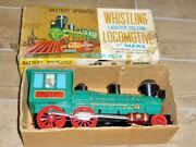 Vintage Marx Whistling Lighted Piston Locomotive Train Battery Operated