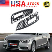 For 2013-2016 Audi A4 B9 Rs Style Gloss Black Front Bumper Fog Light Grilles Us