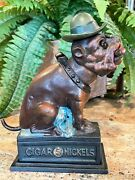 Ole Puffer Dog /hat And Cigar Mechanical Bank Cigar 5andcent Nickels Cast Iron - Nice