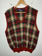 Polo X-large Buffalo Plaid Sweater Vest Christmas Red Rrl Rugby Vtg