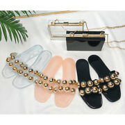 Summer European And American New Crystal Jelly Metal Beads Flat - Bottom Slipper