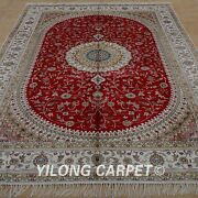 Yilong 6'x9' Handknotted Silk Rug Kid Friendly Red Home Decor Indoor Carpet 1204