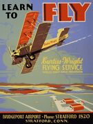 9729.decoration Poster.room Wall Art.home Interior Decor.learn 2 Fly.old Plane