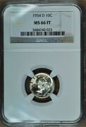 1954-d Roosevelt Dime, Silver, Ngc Ms-66 Full Torch/bands/ft/fb