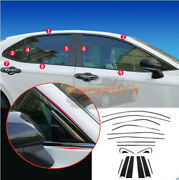 Fit For Toyota Camry 2018-2021 Black Steel Car Window Strip Cover Trim 18x Kit