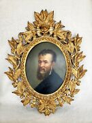 Early Original Michelangelo Oil On Board Portrait Painting Wood Gold Gilt Frame