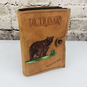 1938 Yellowstone Souvenir Websterand039s Ideal Pocket Dictionary Leather Bear 380p