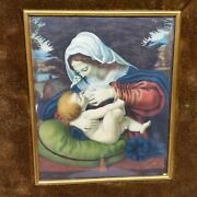 Early Signed Miniature Painting The Virgin Of The Green Cushion Andrea Del Sarto