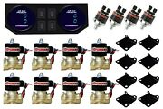 Air Ride Suspension 3/8npt Brass Valves Dual Digital Gauges Panel And 4 Switches