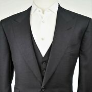 New Menand039s Tom Ford Windsor Fit A 3 Piece Charcoal Flat Front Menand039s Suit Us 44r