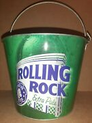 Rolling Rock Ale Beer Advertising Ice Bucket Patio Cooler Pail Candle Holder Nos