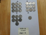 25 1979-d And 1 1980 D Susan B Anthony 1 One Dollar Coins 26 Circulated A88
