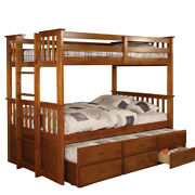 Saltoro Sherpi Cottage Style Twin Over Twin Bunk With Side Ladder Oak Brown