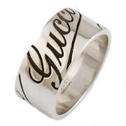 Ring Silver 18k K18 White Gold Wide Logo Wide Icon Print 15 From Japan