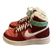 Nike Air Force 1 High And03907 Nordic Christmas Sweater Red Dc1620 600 - Mens Size 13