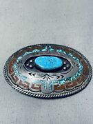 Superb Vintage Navajo Spiderweb Turquoise Chip Inlay Sterling Silver Buckle
