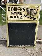 Rare Authentic Bowers Battery And Spark Plug Menu Board