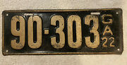 Good Solid Original 1922 Georgia License Plate. See My Other Plates