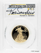 2014-w 25 Proof Gold American Eagle Pcgs Pr70dcam - Ronald Sanders Signed Coin