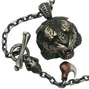 Original Design Angry Tiger Head 925 Sterling Silver Menand039s Pendant Necklace